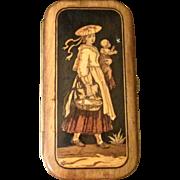 Antique Italian Souvenir Wood Inlay Cigar Case