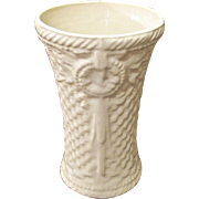 McCoy Embossed Cream Color Basket Weave Vase, 1932