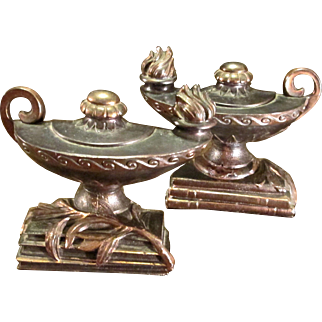 Pair Of Cast Metal Aladdin Lamp Bookends By Dodge, Circa 1947