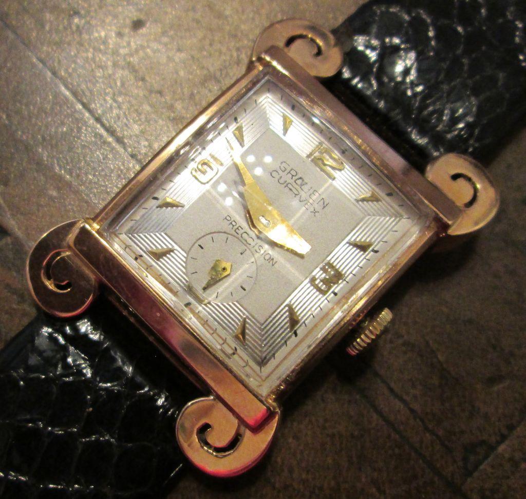 vintage gruen curvex 18k gold men 39 s watch circa 1945 from. Black Bedroom Furniture Sets. Home Design Ideas