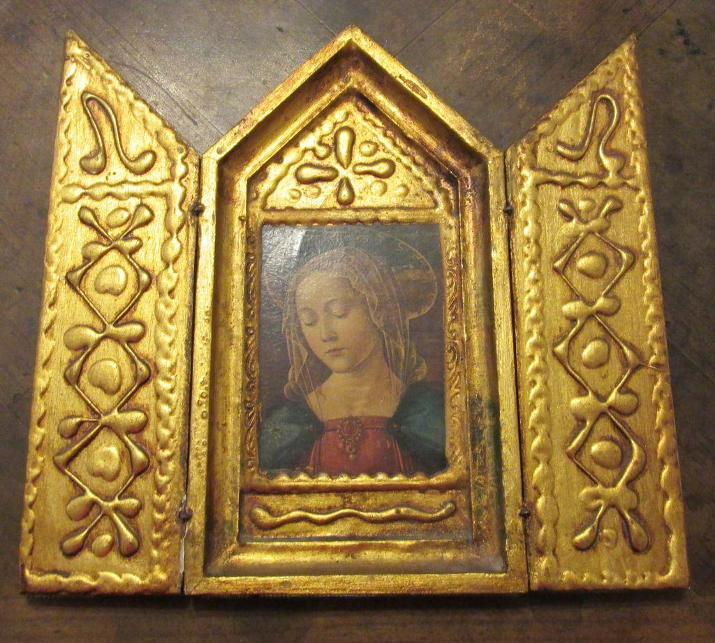 Religious Art: Vintage Florentine Triptych Religious Art From Ewantiques