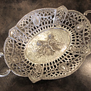 Antique German Silver Pierced Bowl With Cupid And Angel