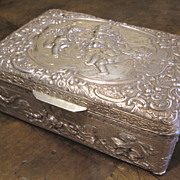 Antique Silver Plate Box With Cherubs And Angels, Circa 1900