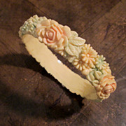 Vintage Celluloid Floral Bangle Bracelet, Circa 1930