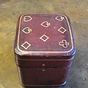 Vintage Italian Leather Miniature Playing Card Box, Circa 1930