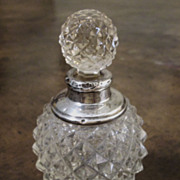 English Faceted Cut Glass And Sterling Perfume Bottle, Circa 1910