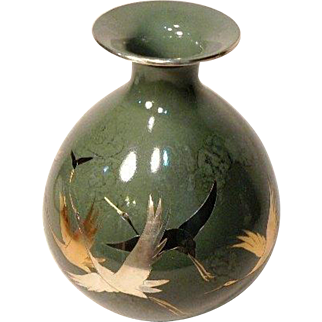 Japanese Cloissone Vase Vintage Flying Crane Motif Olive Green Flower Vase Home Decor