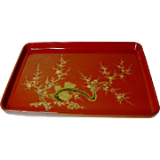 High Quality Japanese Vintage Wood Lacquer Tray Inlaid Mother of Pearl Collectible