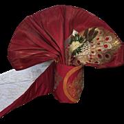 Vintage Japanese Fukuro Obi Red Peacock Kimono Sash