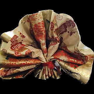 Vintage Japanese Silk Kimono Embroidered Maru Obi Flying Craned Sakura Design