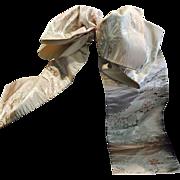 Japanese FUKURO Obi Sash For Kimono Dress Vintage Tranquil View Motif Silk White