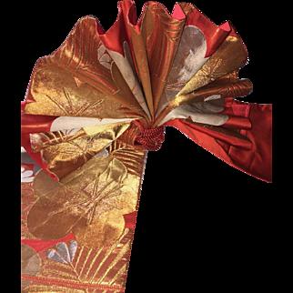 Vintage Japanese Kimono Sash Obi Silk Orange Floral