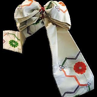 Japanese Vintage Kimono Sash Silk OBI Floral Bow Style Lovely Home Decor