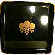 Japanese Lacquer Tray Vintage Kamon Flower Square Tray