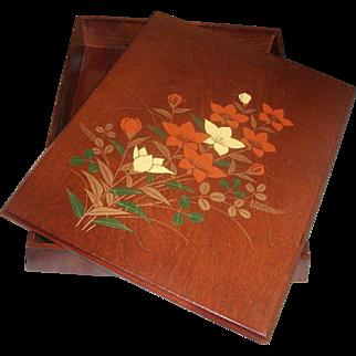 Japanese Wood Fumibako Letter Box Flowers DOCUMENTS Box