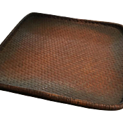 Rare Japanese Basket Old Collectible Basket Bamboo Smoked  Large Basket