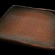 Rare Japanese Basket Old Collectible Basket Bamboo Smoked  Large Basket