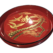 VEry Large Lovely Vintage Lacquer Style SASHIMI Omise Plate Red