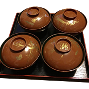 RAre Japanese Meiji Period Lacquerware Rice Cup Soup Collectible