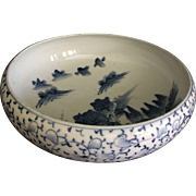 Japanese Old Imari Bowl Blue and White Porcelain Meiji Collectible