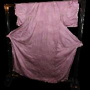 Lovely Pink Vintage Japanese Kimono Furisode Silk Dress Ikebana