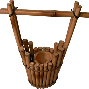 Japanese Bucket Style Bamboo Ikebana Basket Flower Arrange Tea Ceremony