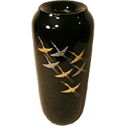 Japanese Lacquer Vase Flower Arrangement Flying Cranes