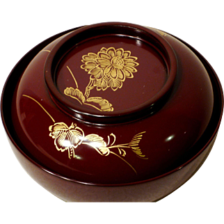 Japanese Lacquer Bowl with Lid Chinkin Style Chrysanthemum Burgundy