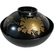 High Quality Flower Motif Maki-e Japanese LACQUER Rice/Soup Bowl Set of 4