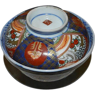 Japanese Antique Imari Porcelain Bowl Enamel With Lid Late Edo Period