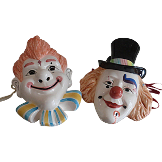 Vintage Japanese Okimono-Decorative Ceramic Clown Set of 2 Home Decoration