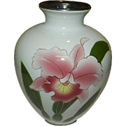 Very Lovely Japanese Vintage Porcelain Vase Orchid Motif For Flower Arrangement