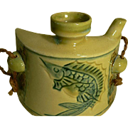 Japanese-Ryukyu-Okinawan-Sake-AWAMORI-Stoneware-Bottle-Hip-Flask Fish
