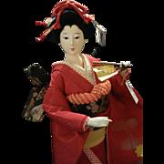 Beautiful Geisha Doll Japanese Collectible Doll Gofun Red Kimono