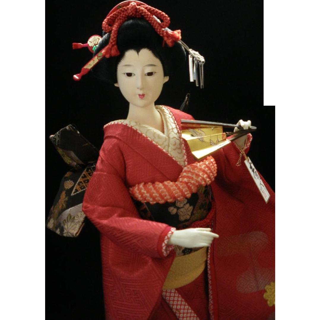 beautiful geisha doll japanese collectible doll gofun red