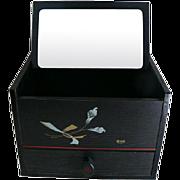 Japanese Vintage Jewelry Box Mirror Trinket Wood Box