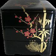 3 Tier Japanese Jubako Box Benton Wood Storage Lacquer
