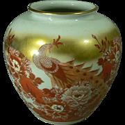 Handsome Japanese Porcelain Vase Vintage Kutani Flower Vase with Kiri Box
