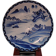 Antique Japanese Imari Large Plate Underglaze Blue And White Porcelain Plate