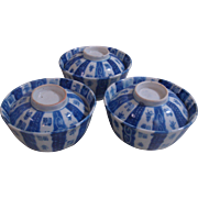 Old Japanese Imari Porcelain Bowl With Lid Blue and White Meiji Underglazed Set of 3