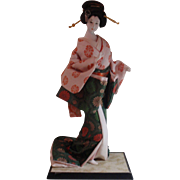 Gorgeous Japanese Bijin Geisha Doll Gofun Life-Like Pose Green Kimono Flowers
