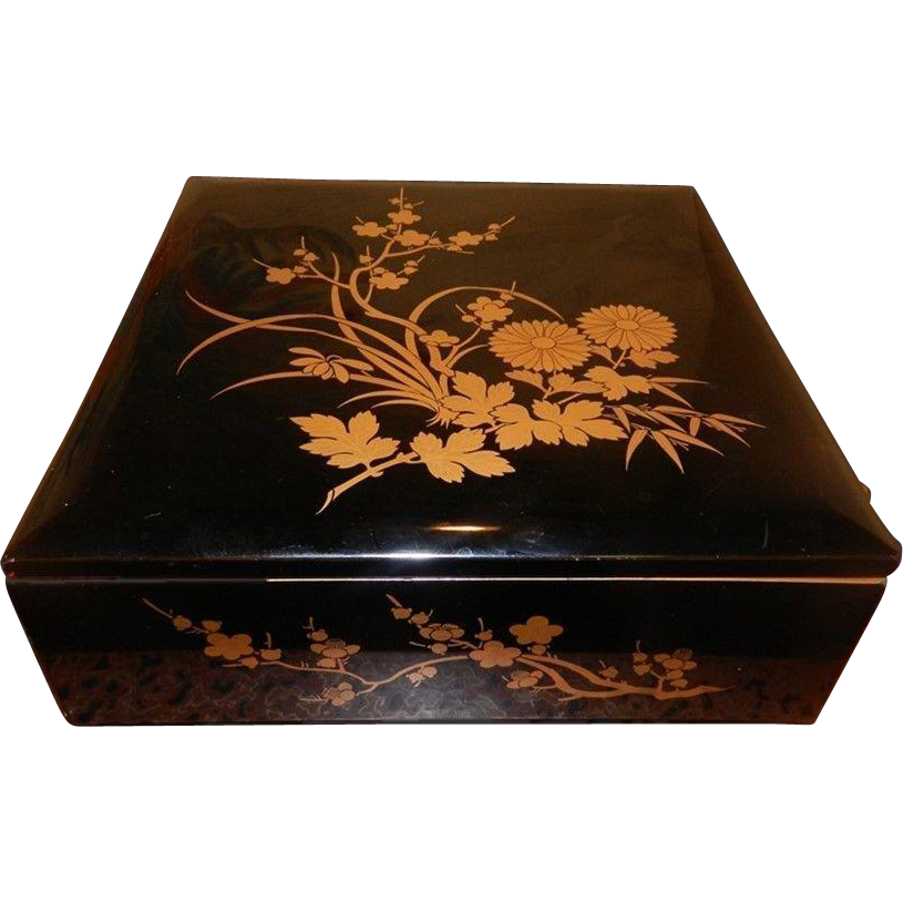 japanese traditional laquer maki e bento lunch box jubako flower motif sold on ruby lane. Black Bedroom Furniture Sets. Home Design Ideas