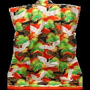 Colorful Japanese Vintage Uchikake Wedding Kimono Dress Silk Cranes
