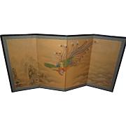 Japanese Old Byobu 4 Panel  Screen Hand Painted Pheasant Bird