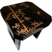 Japanese Fine Old Lacquer Sake Stand Makie Technique With Cranes Tree