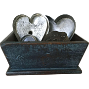 19th Century Small Blue Box  with 6 antique heart cutters
