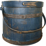 19th Century Indigo Blue Firkin - with finger and metal bands - BEST