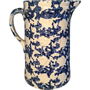 19th Century Blue Spongeware Pitcher - Embossed w/Flower