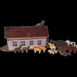 19th Century Flat Bottom German Noah's Ark and Animals