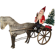 19th Century Horse in Oyster White Paint, Santa and Tree